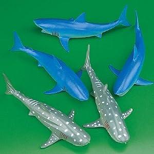 Amazon Com 6 Plastic Sharks Toys Amp Games