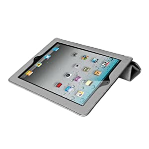 Mivizu Sense Leather Folio Cover for Apple iPad 2, Wi-Fi/3G Model 16GB, 32GB and 64GB - Grey (IPAD2MVZSMRTGY00)