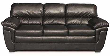 Fenmore Casual Split-Back Leather-Like Sofa - Black