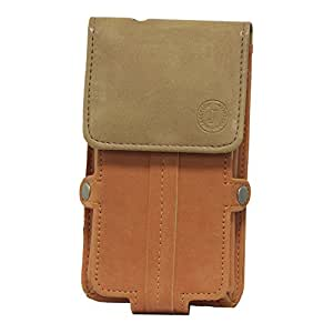 Jo Jo A6 Nillofer Series Leather Pouch Holster Case For Huawei Ascend G525 Orange Tan