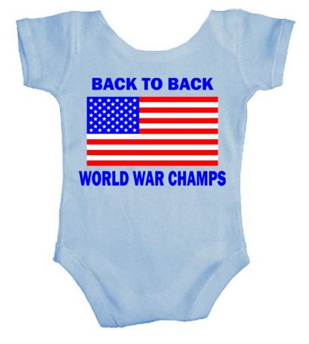 TeeShirtPalace Back to Back World War Champs Infant Body Suit Light Blue 12 Months