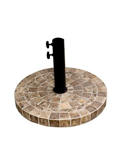 Outdoor Interiors Natural Stone Mosaic Umbrella Base, Brown
