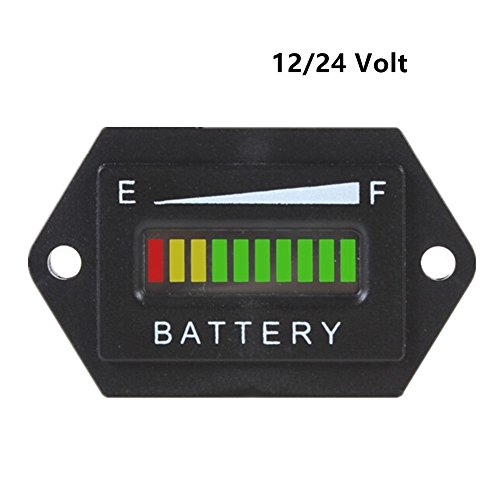 Aimila 12/24V LED Battery Charge Discharge Status Indicator Gauge Testers for Lead-acid Battery Golf Cart Club Car Hex (Lead Acid Car Battery Tester compare prices)