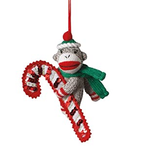 Midwest CBK Sock Monkey With Candy Cane Christmas Ornament
