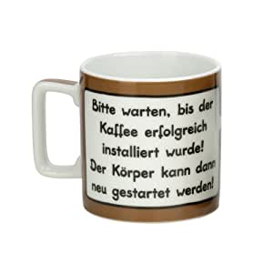 """Sheepworld 42479 Tasse Wortheld """"Bitte warten bis der Kaffee erfolgreich installiert wurde! Der Körper kann dann neu gestartet werden!"""", braun"""