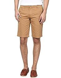Zess Men's Cotton Shorts (8903862962412_Khaki_30)
