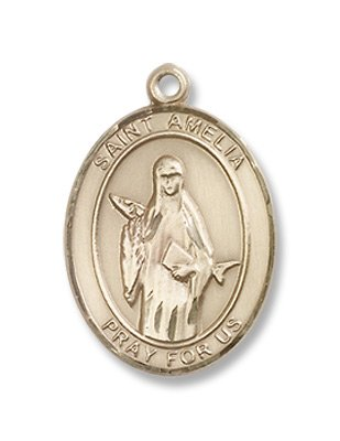 St. Amelia 14KT Gold Medal Patron Saint of Arm Pain & Bruises