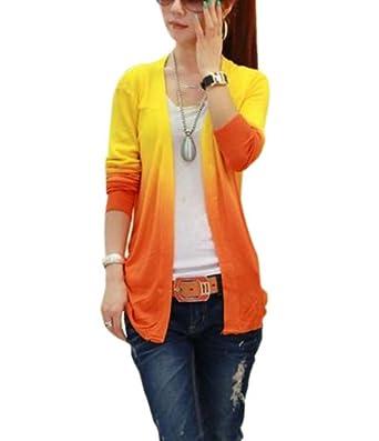 damen farbverlauf strickjacke sommerjacke lang top cardigan jacke strickpullover oberteil gelb. Black Bedroom Furniture Sets. Home Design Ideas