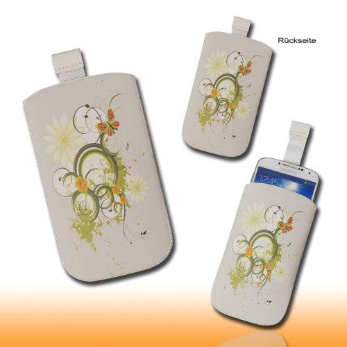 Handy Tasche Hülle Case hellgrau / grün Butterfly M61 Gr.3 für Samsung C3312 Rex60 / S5222R Rex80 / Galaxy Young S6310 / Galaxy Young Duos S6312 / Galaxy Pocket Plus S5301 / Samsung Galaxy Pocket Neo S5310 / Alcatel OT 903D / Alcatel OT Star 6010D