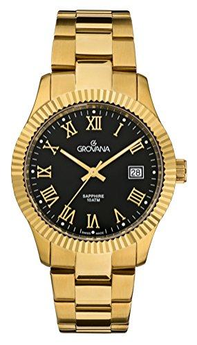 Grovana reloj infantil de cuarzo con para hombre esfera analógica y acero inoxidable chapado en oro pulsera 1545,1117