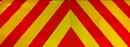 Reflective Self Adhesive Chevron Red/Yellow - One Pair -Various Sizes - 1200mm X 200mm