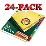 Wilson Jones Insertable Binder Tab Dividers, 8 Tab Multicolor (W54311A) - 24 packs of 8 sets