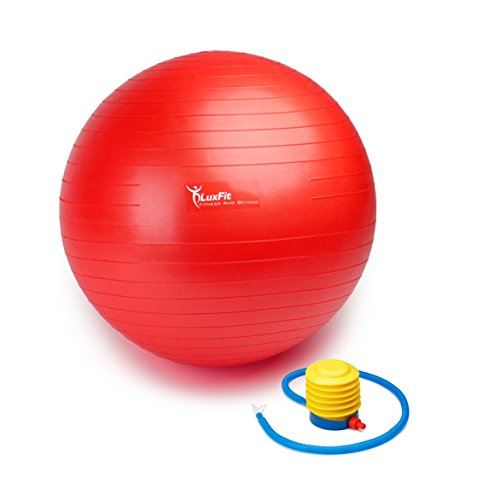 Exercise Ball, LuxFit Premium EXTRA THICK Yoga Ball '2 Year Warranty' - Swiss Ball Includes Foot Pump. Anti-Burst - Slip Resistant! 45cm, 55cm, 65cm, 75cm, 85cm Size Fitness Balls (Red, 85cm)