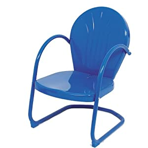 Amazoncom blue retro metal lawn chair furniture patio for 1950s metal patio chairs