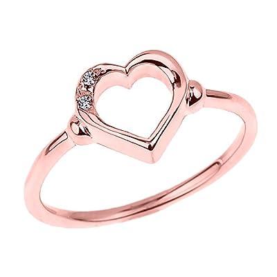 Fine 10k Rose Gold Dainty Band 2-Stone Diamond Open Heart Ring