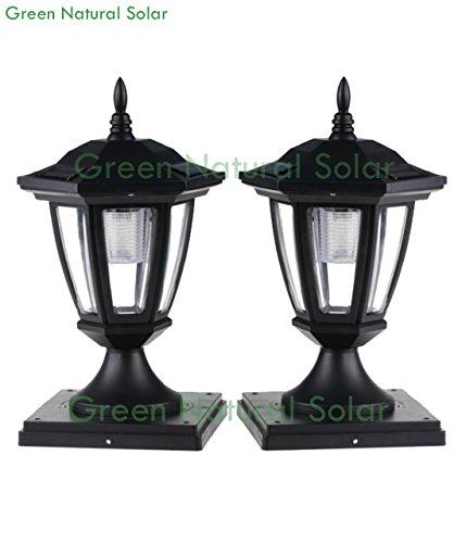 2 pack black solar hexagon post cap lights with white leds for 6x6 fence post. Black Bedroom Furniture Sets. Home Design Ideas