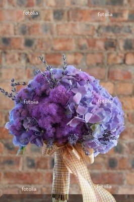"""Wallmonkeys Peel and Stick Wall Decals - A Colorful Purple Bridal Bouquet of Flowers - 18""""H x 12""""W Removable Graphic"""