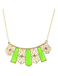 Mask Fashions Gold Metal Green Stone Necklace For Women