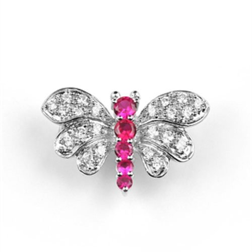 C.Z & Ruby Butterfly Sterling Silver Brooch Pin (Nice Holiday Gift, Special Black Firday Sale)