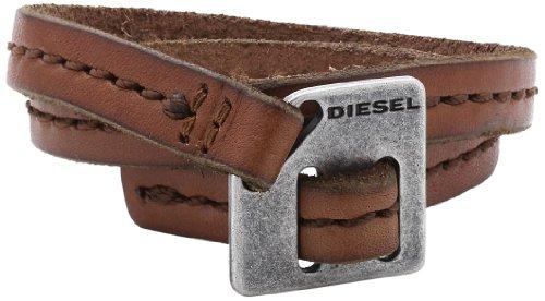 Diesel DX0568040 - Bracciale da uomo, acciaio inossidabile e pelle, 460 mm