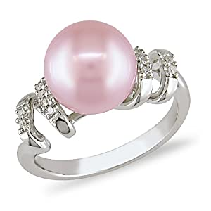 9-9.5 mm Pink Freshwater Pearl and Diamond Accent Ring in Silver