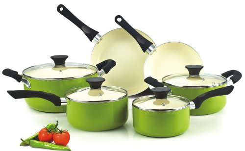 Cook N Home NC-00358 Nonstick Ceramic Coating PTFE-PFOA-Cadmium Free 10-Piece Cookware Set, Green