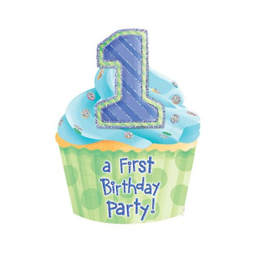Jumbo 1st Birthday Blue Invitations Party Accessory