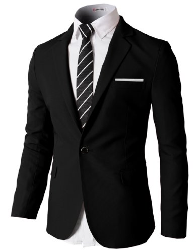 H2H-Mens-Slim-Fit-Single-One-Button-Blazer-Jackets-with-Pocketchief-Trim-BLACK-US-XLAsia-2XL-KMOBL046