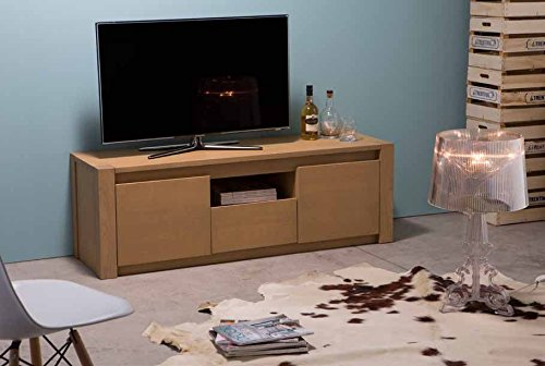 Porta TV in legno massello a due ante e 1 cassetto con vano a giorno