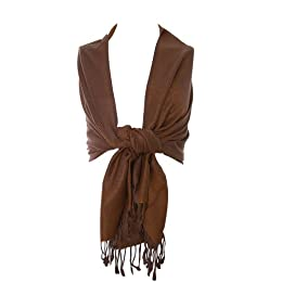 Product Image Adi Designs Pashmina Shawl with Fringe - Brown