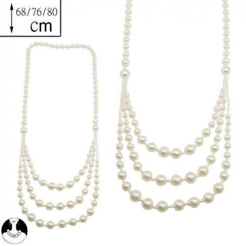 sg paris women necklace long necklace 3 rows 80/68cm cream pearl glass