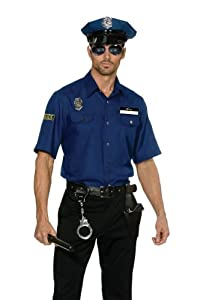 Dreamgirl Mens You're Busted Policeman Officer Uniform Costume, Blue, Medium