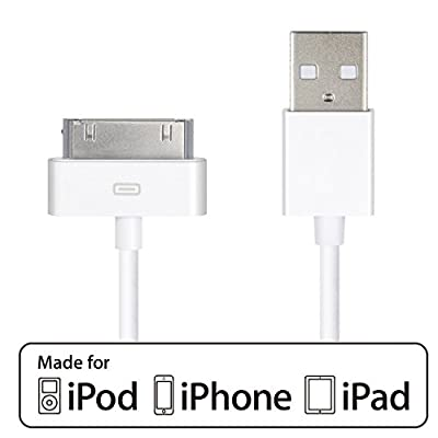 CELLTRONIX® 3.2 Ft / 1M USB Cable for Apple iPhone 4 4S 3GS iPad 1 / 2 / 3 Sync Cable Power Cord with Wall Charger (White) from CELLTRONIX