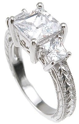 2.50 Ct Princess Antique Style Three Stone Engagment Anniversary Ring Sterling Silver Cz (8)