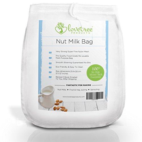 Sac à Lait de Noix Premium - Ebook de recettes gratuit inclus - Grand sac très solide en mailles de nylon très fines Réutilisable - Laits et jus onctueux à Chaque Fois avec une garantie 100% remboursée. Produits Love Tree