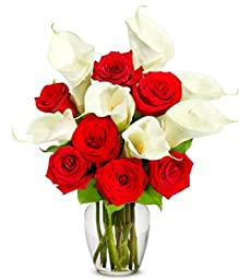 From You Flowers - Red Rose & Calla Lily Bouquet - Premium (Free Vase Included)
