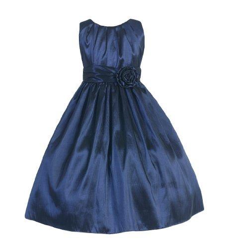 Sweet Kids Girls Pleated Taffeta Dress 8 Navy (Sk 355)