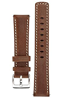 buy Signature Traveller 20 Mm Coffee With White Extra-Long Watch Band. Replacement Watch Strap. Genuine Leather. Silver Buckle