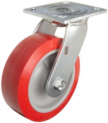 """E.R. Wagner 1F88 8"""" Diameter Polyolefin Wheel Heavy Duty Swivel Plate Caster, 4-5/8"""" Length X 4"""" Width Plate, 900 lbs Capacity Range"""