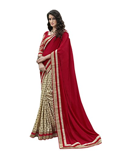 Lovely Look Latest collection of Sarees in Chiffon & Cotton Jacquard Fabric & in attractive Beige & Red Color
