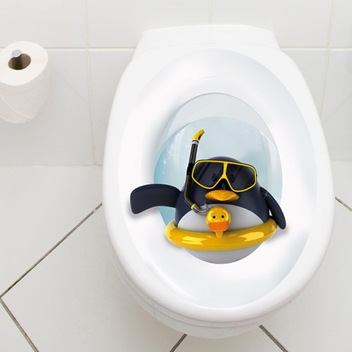 Wandkings Toilet Lid Decal Penguin With Lifesaver 11 8 X 15 7 In