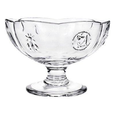 Global Amici Z7Chn360S6R Footed Dessert Bee Glass Bowls, 8-Ounce, Set Of 6