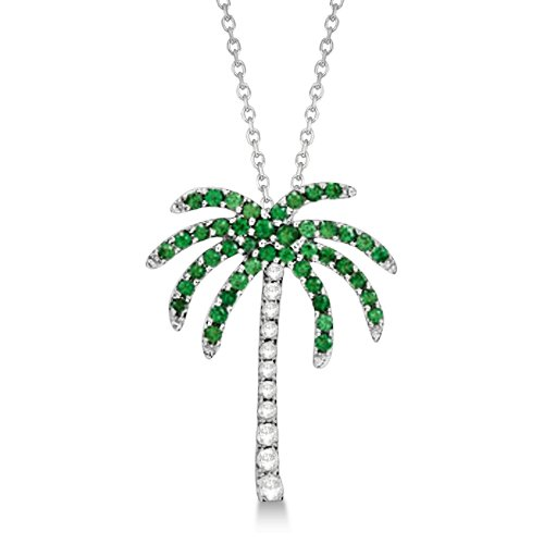 0.30ct Natural Tsavorite and Diamond Palm Tree Pendant Necklace 14k White Gold Palmetto Nature