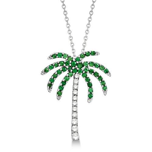 0.30ct Natural Tsavorite and Diamond Palm Tree Pendant Necklace 14k White Gold Palmetto Nature