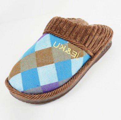 JE&KU JK-2678 Winter Mens Cotton Slippers/Cute Rabbit Plush Velvet Cartoon Antiskid Warm Shoes (Male/XL, Coffee)