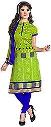 Manmauj Women's Cotton Unstitched Dress Material (MM10020DGRN, Green)