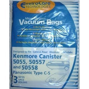 Kenmore 5055&50558 Single Wall Vacuum Bags,Panasonic Style C-5 Bags (Kenmore White Vacuum compare prices)
