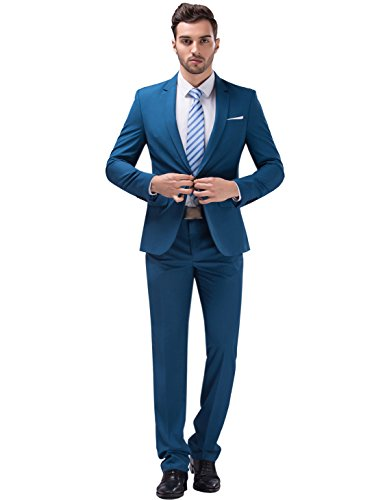 Tsui-Fashion Men's New Work Slim Fit One Button Suits XZ00261BL 44R XXXL (Men Blue Suit compare prices)