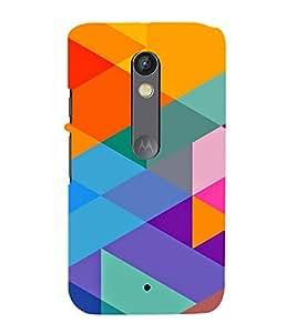 MULTICOLOURED TRIANGULAR PATTERN 3D Hard Polycarbonate Designer Back Case Cover for Motorola Moto X Play