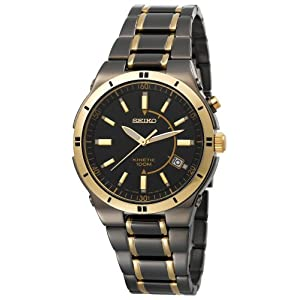 Click to buy Seiko Watches for Men: SKA366 Kinetic Black Ion Watch from Amazon!